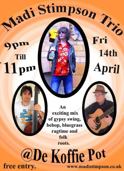 Live Music Good Friday, Easter weekend Hereford, de koffie pot