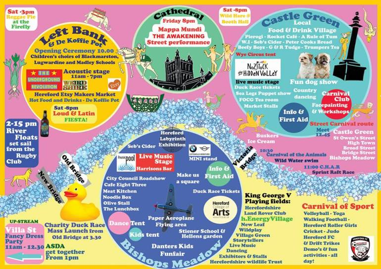 The Hereford River Carnival Infograph is the most useful bit of kit to get you around the carnival